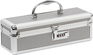 Lockable Medium Vibrator Case Silver