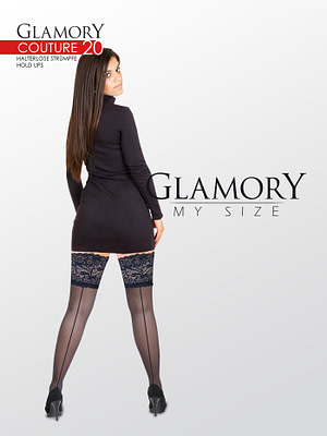 Glamory Plus Couture 20 Back Seam Hold Ups Black